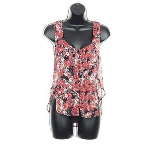 GARAGE Sheer Floral Blouse Tank Top Flowy Buttons